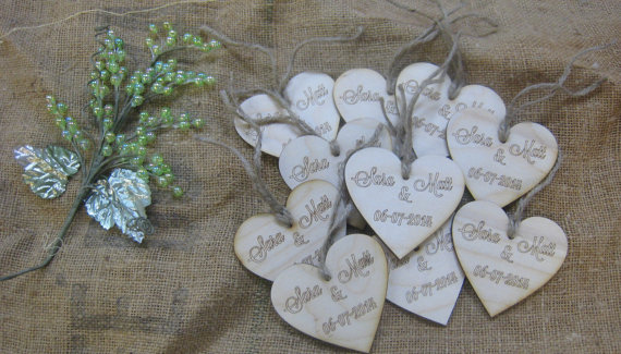 Express Your Love - Wood Heart Wedding Tags l Expressions N more