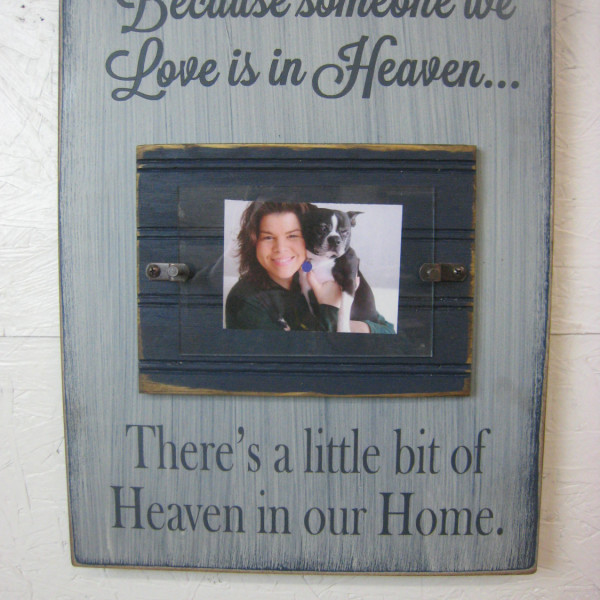DarkBlue/antique white Memorial Picture Frame Because Someone We Love is in Heaven