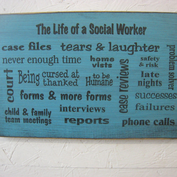 Black/teal Great Social Worker Gift Several Popular Phrases on this Sign BSW MSW