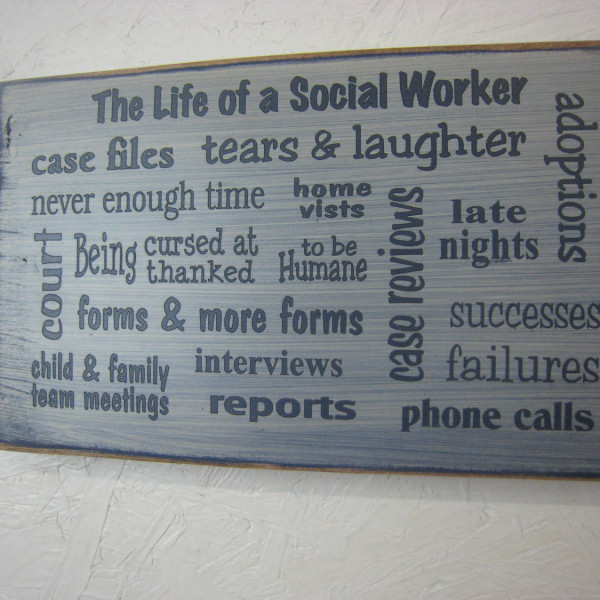 DarkBlue/Antique White Great Social Worker Gift Several Popular Phrases on this Sign BSW MSW
