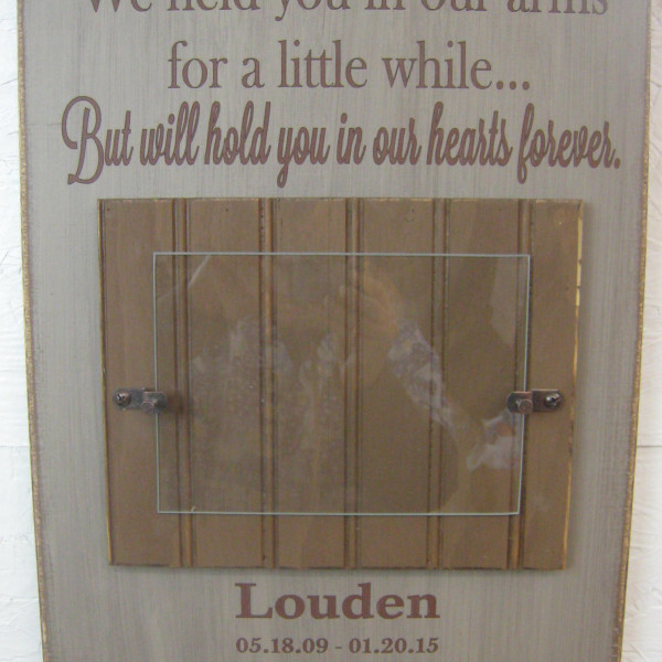 Brown/CountryTan Baby Memorial Personalized Picture Frame We Held You in Our Arms for a Little While