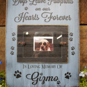 Black/Sky Blue Pet Memorial Photo Frame Dogs Leave Paw Prints