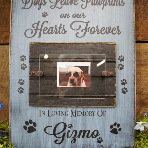 Black/Sky Blue Pet Memorial Photo Frame Dogs Leave Paw Prints