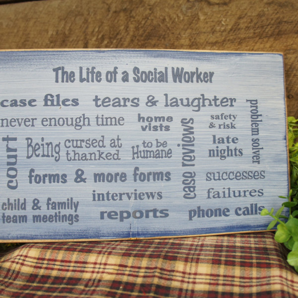 MedBlue/Antique White Great Social Worker Gift Several Popular Phrases on this Sign BSW MSW