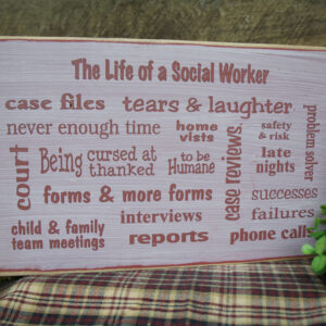 BarnRed/Antique White Great Social Worker Gift Several Popular Phrases on this Sign BSW MSW
