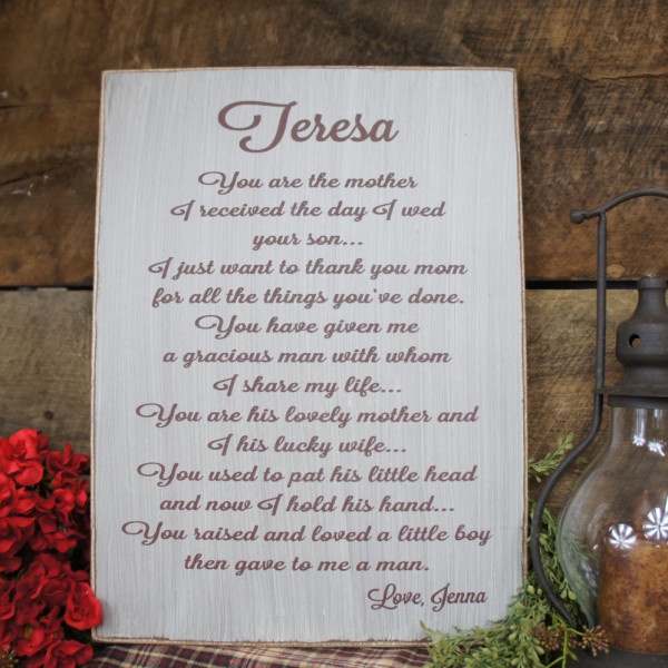 Wedding Gift/Sign for your Mother-in-Law - Rustic Wedding Gift for ...