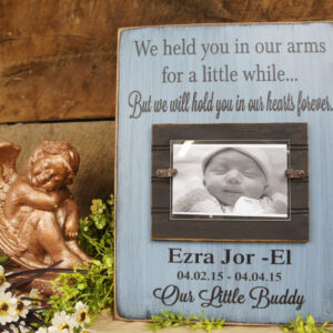 Black/SkyBlue Baby Memorial Personalized Picture Frame We Held You in Our Arms for a Little While