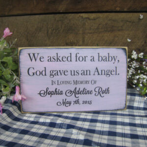 Black/Light Pink Personalized Baby Memorial We Asked for a Baby, God Gave Us an Angel