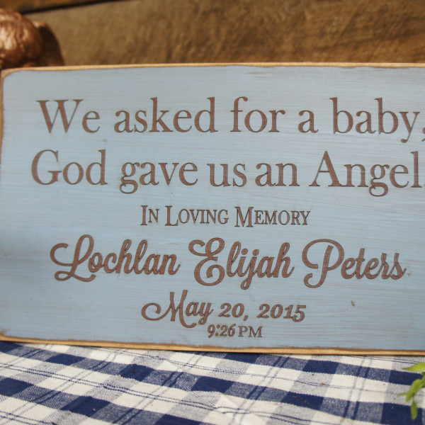 Brown/SkyBlue Personalized Baby Memorial We Asked for a Baby, God Gave Us an Angel