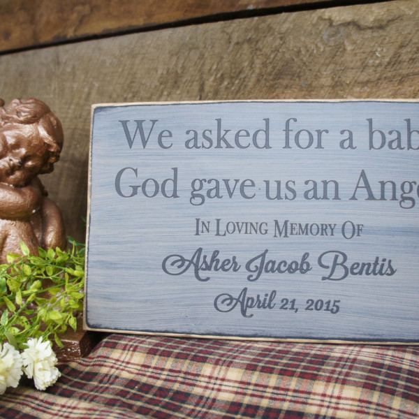 Black/Antique White Personalized Baby Memorial We Asked for a Baby, God Gave Us an Angel