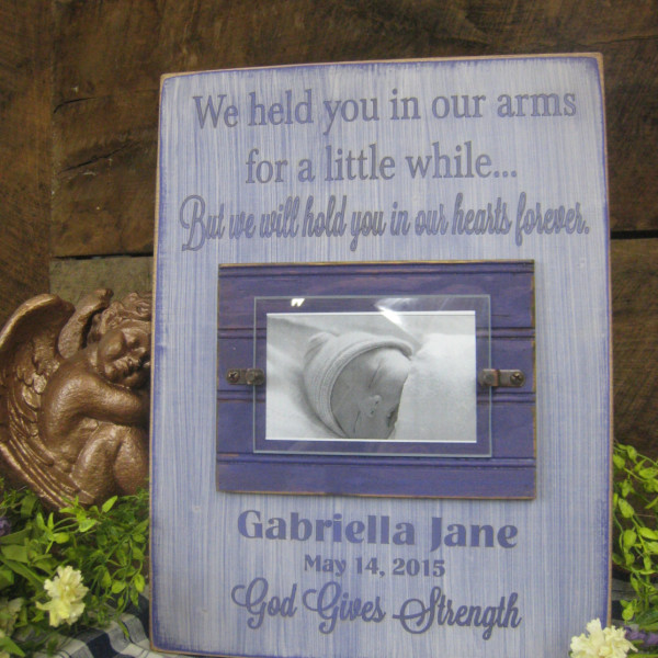 Purple/AntiqueWhite Baby Memorial Personalized Picture Frame We Held You in Our Arms for a Little While