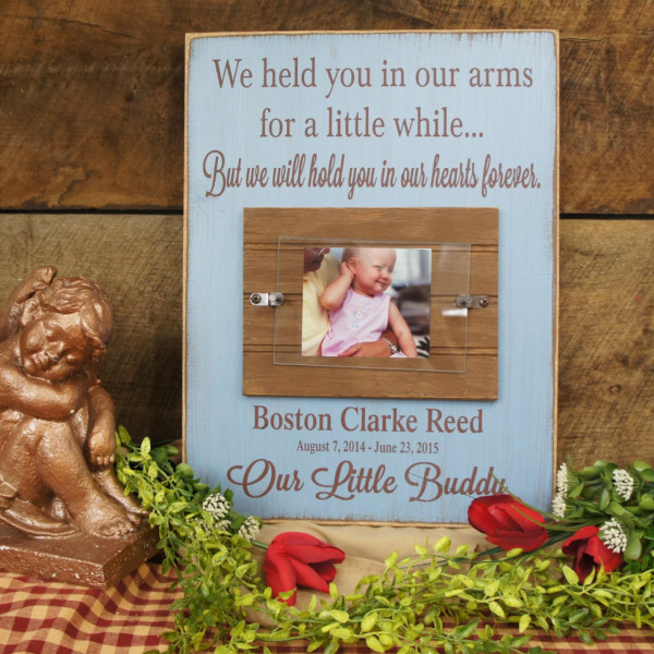 Brown/SkyBlue Baby Memorial Personalized Picture Frame We Held You in Our Arms for a Little While