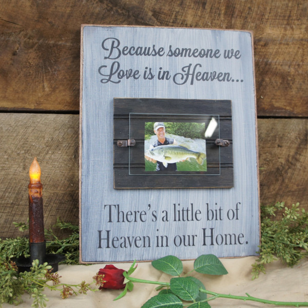 Black/antique white Memorial Picture Frame Because Someone We Love is in Heaven