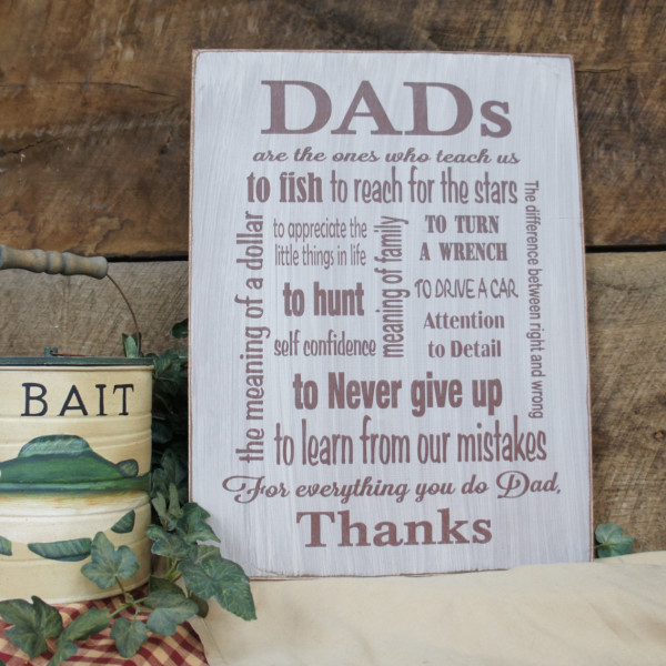 Brown/ Antique White Rustic Subway Art Style Sign for Dad