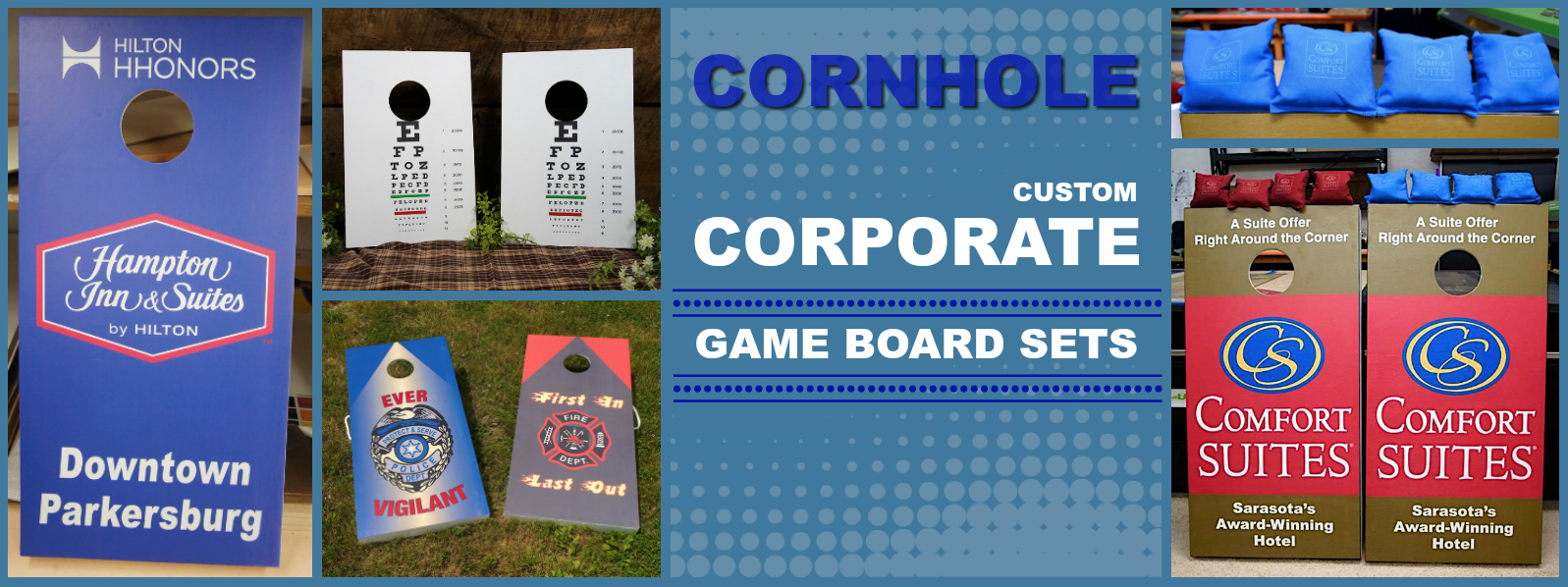 Our custom Corporate Cornhole Game Board Sets are ideal for your next company event or employee picnic. l ExpressionsNmore.com