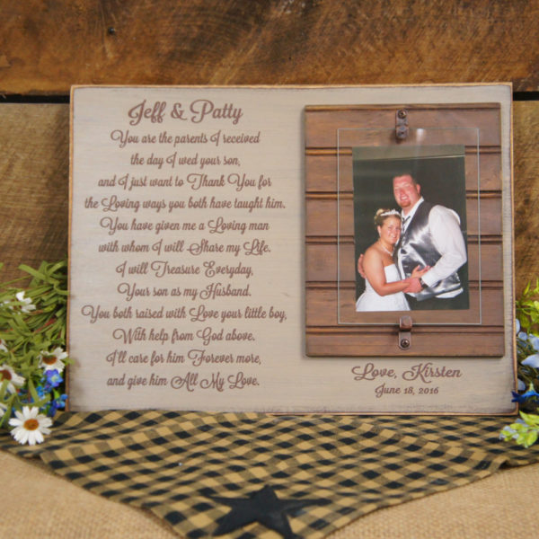 Wedding Gift for Parents of Bride or Groom Rustic Picture Frame ...