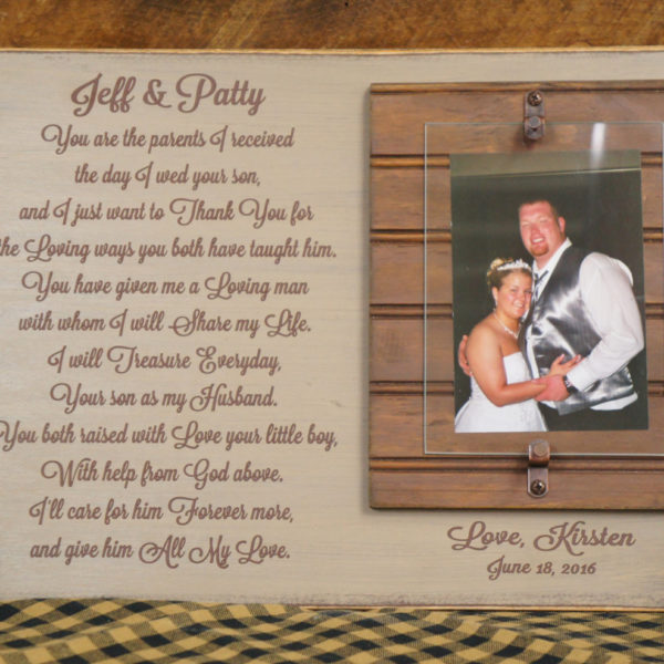Wedding Gift For Parents Of Bride Or Groom Rustic Picture Frame