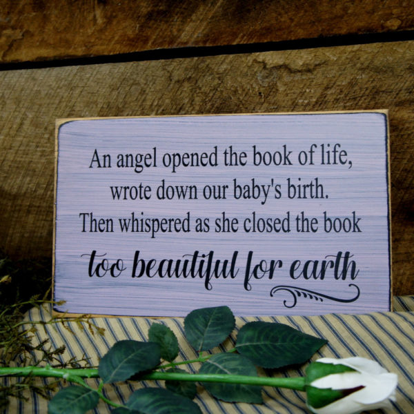 Black/Light Pink Baby Memorial An Angel Opened the Book of Life Whispered too Beautiful