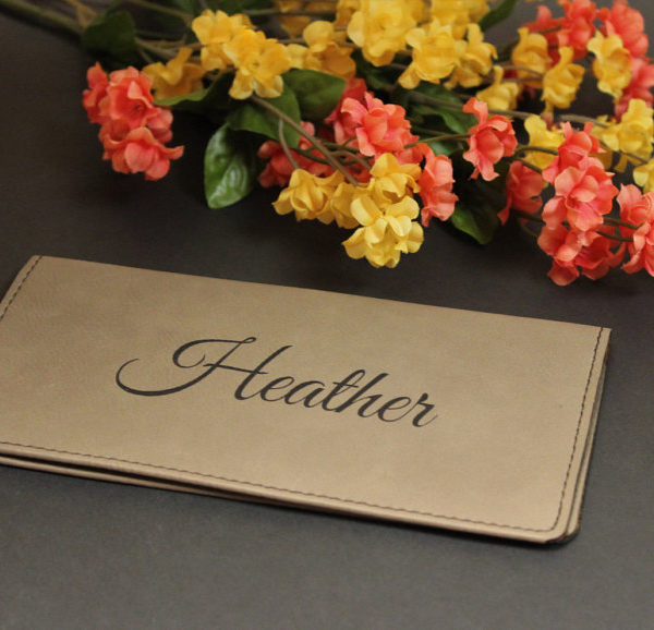 Personalized Faux Leather Checkbook Cover