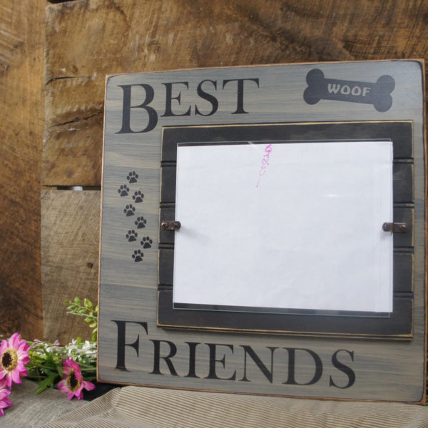Dog Frame Best Friends with pawprints and dog bone personalized with ...