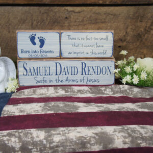 Medium Blue/Antique White Baby Memorial Custom Born into Heaven Safe in the Arms of Jesus