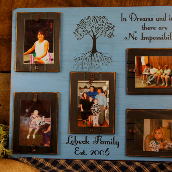 Black/Sky Blue In Dreams and in Love Rustic Picture Frame