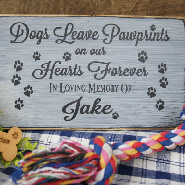 Black/Antique White Pet Memorial Dogs Leave Paw Prints on our Hearts