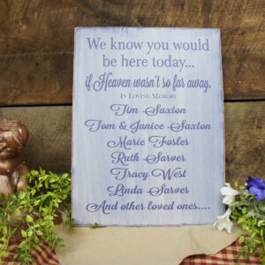 We Know You Would Be Here Today, If Heaven Wasn't So Far Away- In Loving Memory Memorial Personalized with names Special Events Weddings