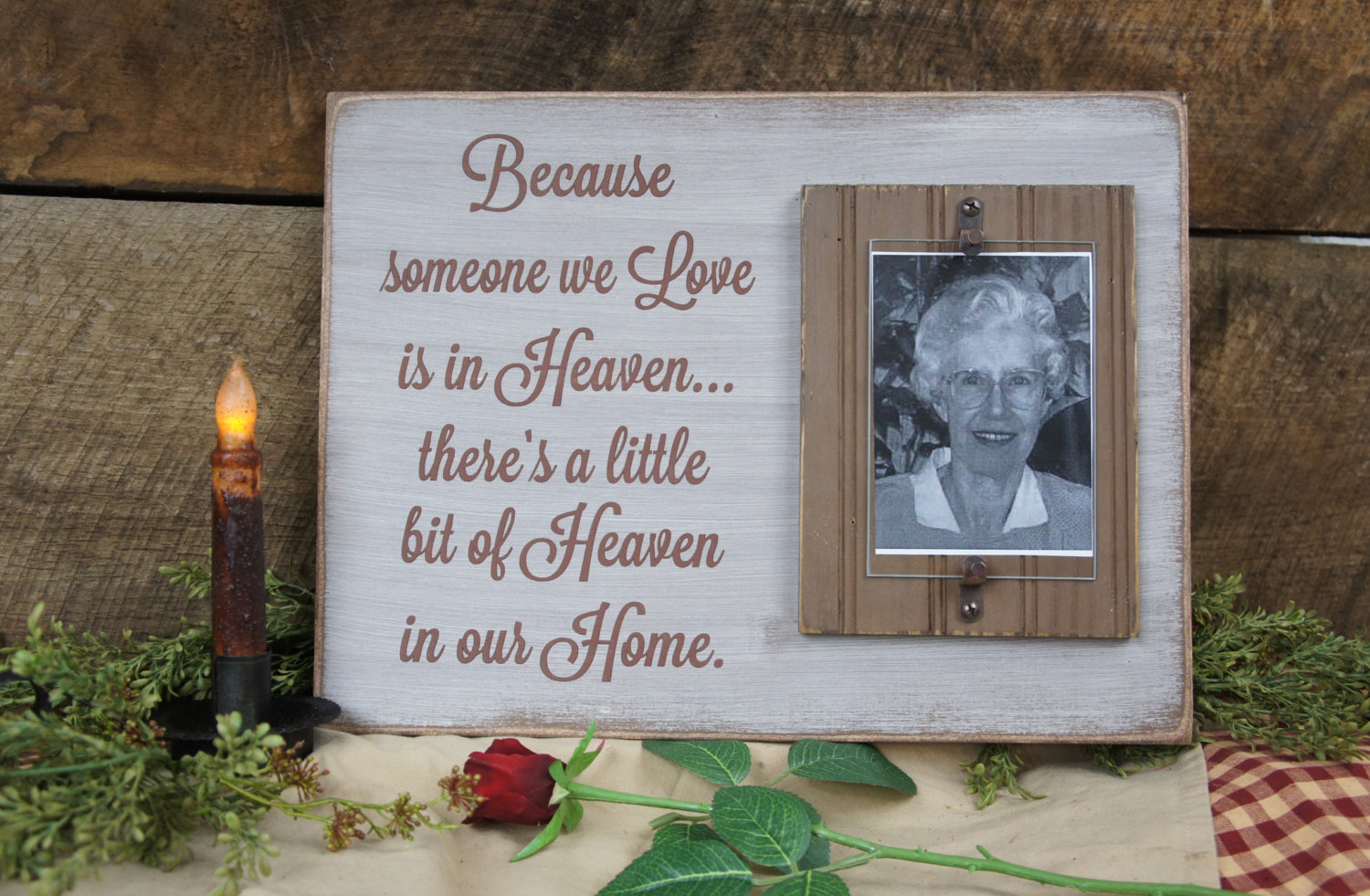 Memorial Picture Frame Saying Because Someone We Love is in Heaven ...