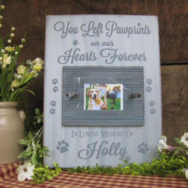 French Gray/Antique White Pet Memorial Picture Frame You Left Paw Prints