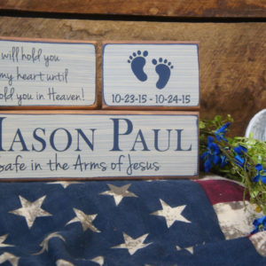 Baby Memorial Block Set Safe in the Arms of Jesus