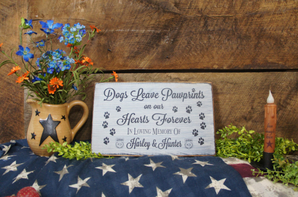 K9 Pet Memorial Dogs Leave Paw Prints on our Hearts Forever