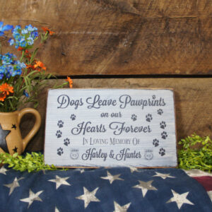 Black/Antique White K9 Pet Memorial Dogs Leave Paw Prints