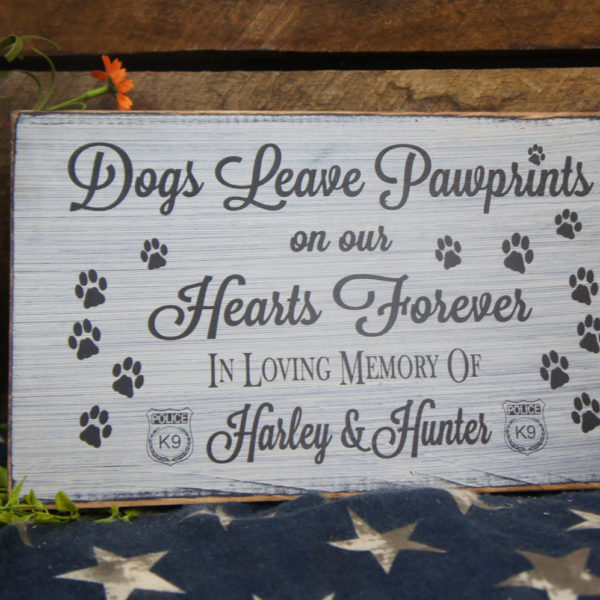Black/Antique White K9 Pet Memorial Dogs Leave Paw Prints
