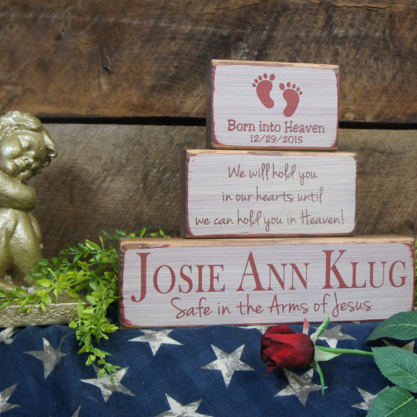Barn Red/ Antique White Baby Memorial We Will Hold You in Our Hearts Until We Can Hold You in Heaven
