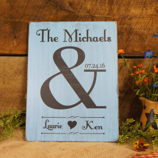 Personalized Wedding Anniversay Gift Last Name At The Top Date Along