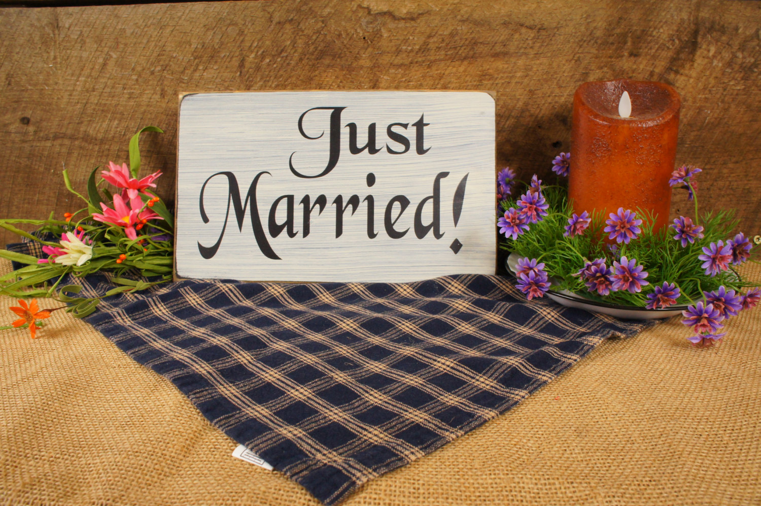 Just married rustic sign for wedding decor expressions for Decor n more